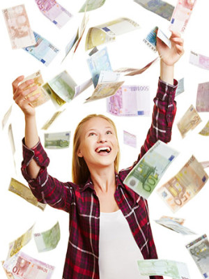 Young lucky woman catching money in rain of Euro bills